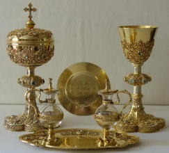 Solid silver gilt antique French Chapel Set Poussilegue-Rusand