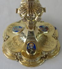 Solid silver gilt antique French Gothic Chalice with Enamels