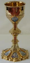 Solid silver gilt antique French Gothic Chalice with Porcelain Enamels