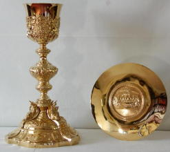 Solid silver gilt antique French Baroque Chalice and Paten