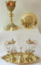 Solid silver gilt ornate antique French Chapel Set
