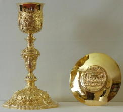 Solid silver gilt antique French Barqoue Chalice and Paten