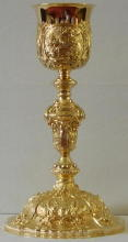 Antique solid silver gilt French Baroque Chalice