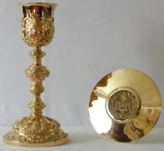 Solid silver gilt antique French Marian Barqoue Chalice and Paten