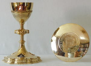 French Antique solid silver gilt Chalice and Paten