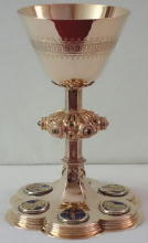 Solid silver gilt antique Dutch Gothic Chalice with Enamels