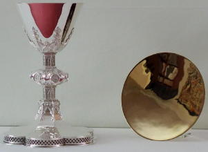 Solid sterling silver Gothic Chalice and Paten