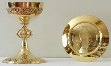 Solid silver Romanesque Chalice and Paten