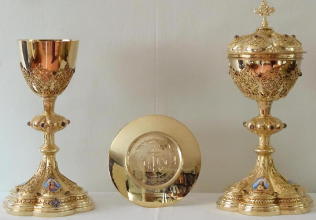 Solid silver gilt antique Gothic French Chapel Set