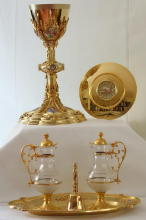 Ornate French antique solid silver gilt Gothic Chapel Set