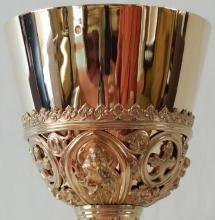 Solid silver gilt antique French Gothic Chalice