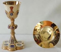 Antique solid silver gilt French Gothic Chalice