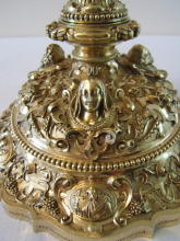 Ornate antique solid silver gilt Baroque Chalice
