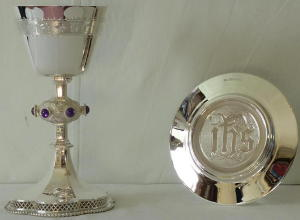 Gothic Solid Sterling Silver English Chalice and Paten