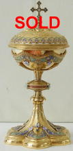 Ornate French antique solid silver gilt Ciborium