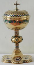French antique solid silver gilt Ciborium