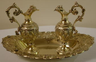 Solid silver gilt Antique French Baroque Cruets
