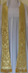 Gold Italian Style Embroidered Preaching Stole