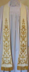 White Italian Style Embroidered Preaching Stole