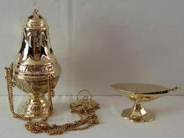 Brass Thurible and Incense Boat 6419